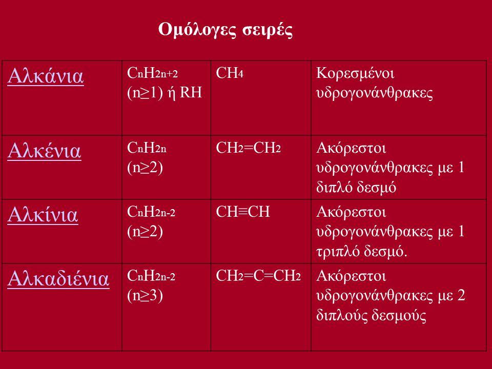 Αλκάνια Αλκένια Αλκίνια Αλκαδιένια Ομόλογες σειρές CnH2n+2 (n≥1) ή RH