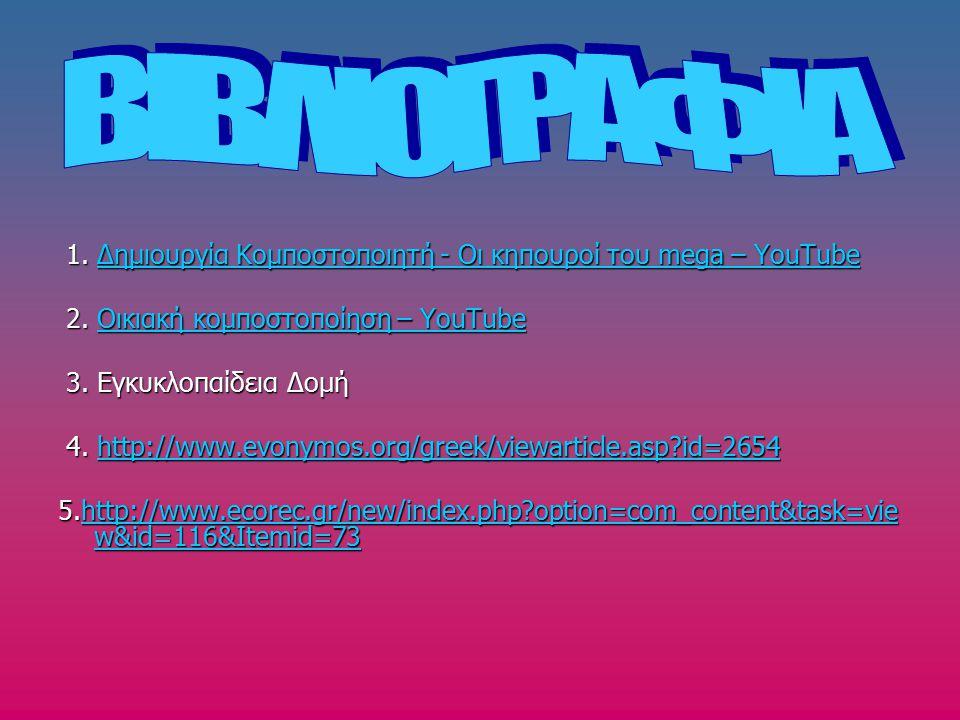 ΒΙΒΛΙΟΓΡΑΦΙΑ 1. Δημιουργία Κομποστοποιητή - Οι κηπουροί του mega – YouTube. 2. Οικιακή κομποστοποίηση – YouTube.