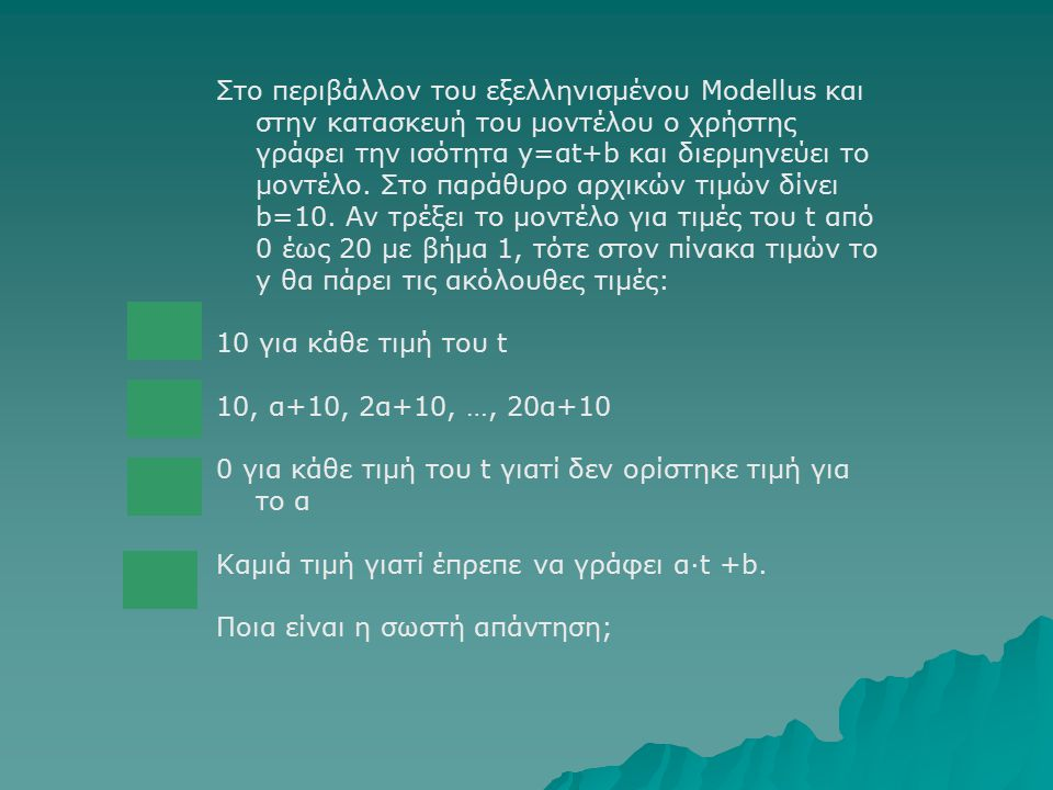 Στο περιβάλλον του εξελληνισμένου Modellus και στην κατασκευή του μοντέλου ο χρήστης γράφει την ισότητα y=αt+b και διερμηνεύει το μοντέλο. Στο παράθυρο αρχικών τιμών δίνει b=10. Αν τρέξει το μοντέλο για τιμές του t από 0 έως 20 με βήμα 1, τότε στον πίνακα τιμών το y θα πάρει τις ακόλουθες τιμές:
