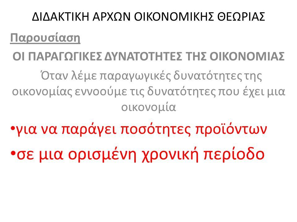 ΔΙΔΑΚΤΙΚΗ ΑΡΧΩΝ ΟΙΚΟΝΟΜΙΚΗΣ ΘΕΩΡΙΑΣ