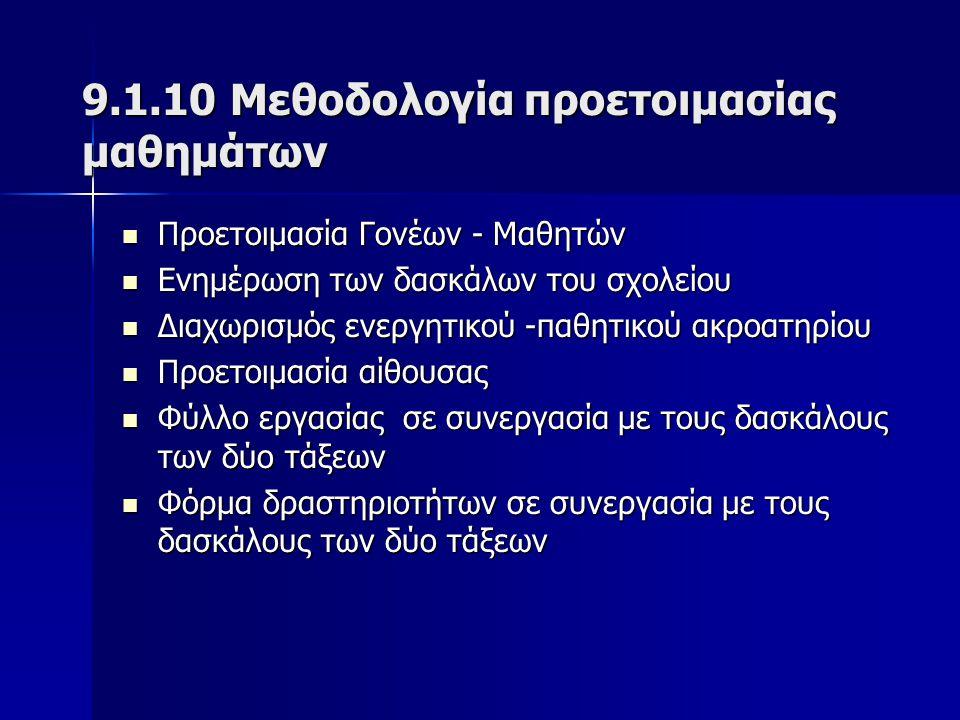 9.1.10 Μεθοδολογία προετοιμασίας μαθημάτων