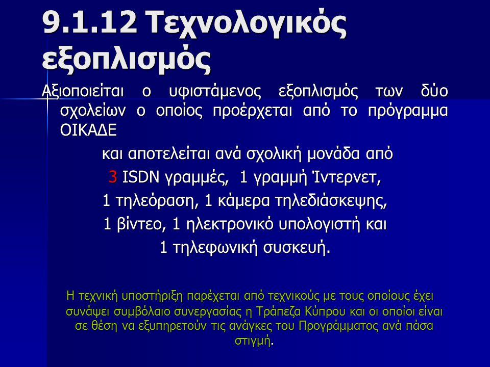 9.1.12 Τεχνολογικός εξοπλισμός