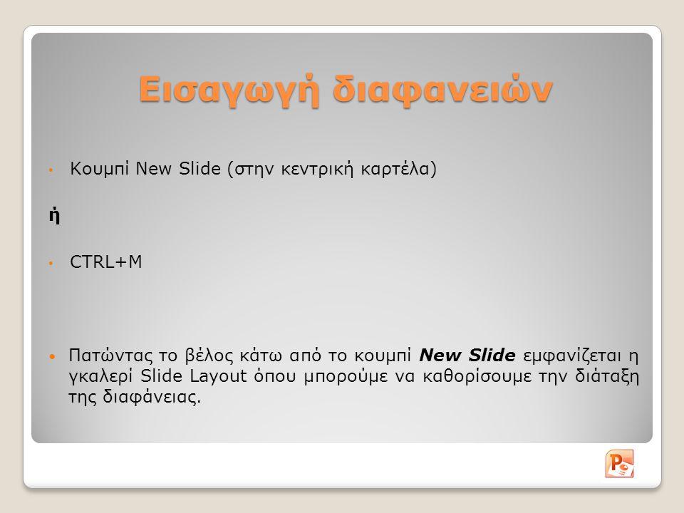 Εισαγωγή διαφανειών Κουμπί New Slide (στην κεντρική καρτέλα) ή CTRL+M
