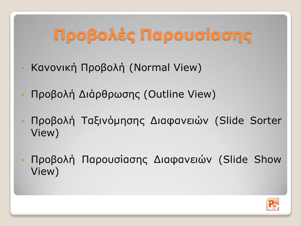 Προβολές Παρουσίασης Κανονική Προβολή (Normal View)