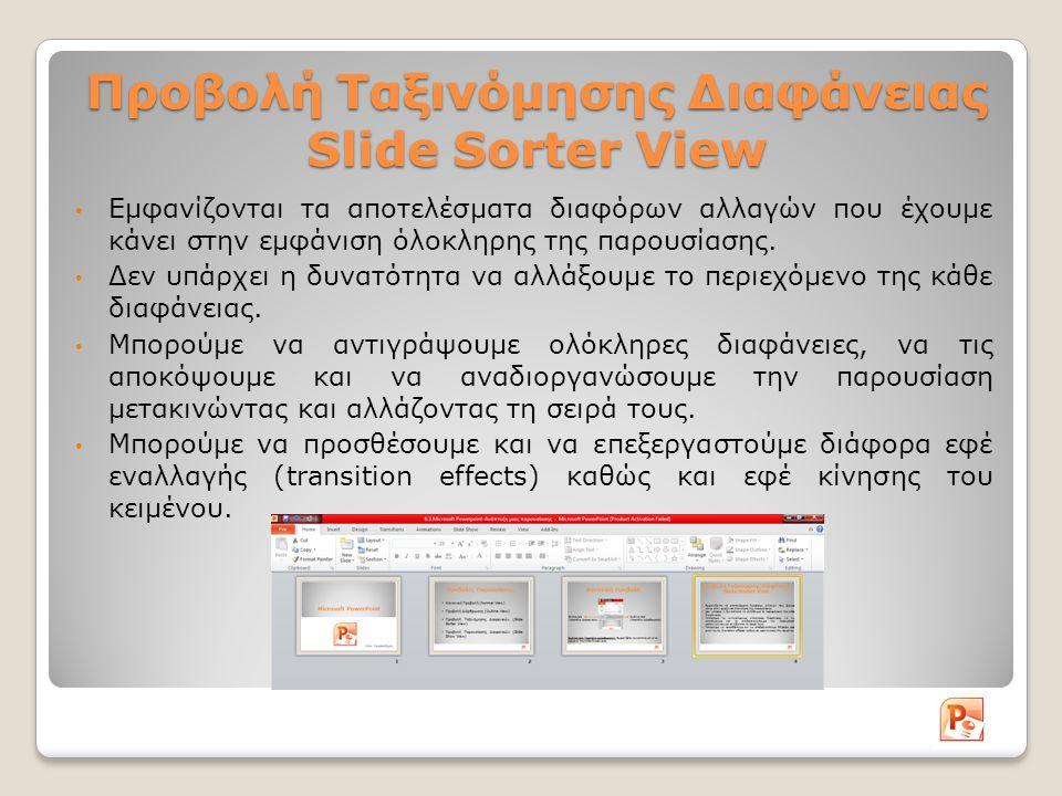 Προβολή Ταξινόμησης Διαφάνειας Slide Sorter View