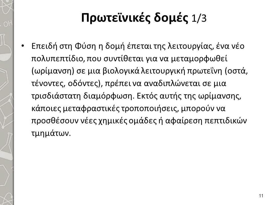 Πρωτεϊνικές δομές 2/3 Οι κύριες πρωτεϊνικές δομές (δομική ιεραρχία).