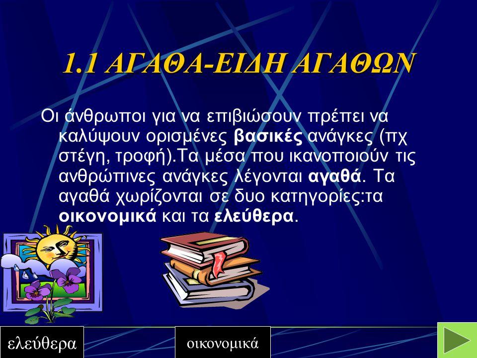 1.1 ΑΓΑΘΑ-ΕΙΔΗ ΑΓΑΘΩΝ