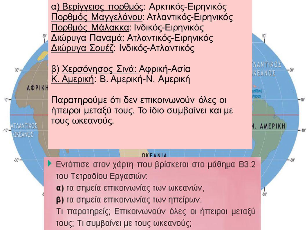 α) Βερίγγειος πορθμός: Αρκτικός-Ειρηνικός