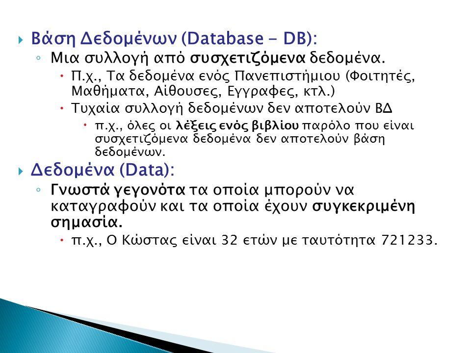 Βάση Δεδομένων (Database - DB):