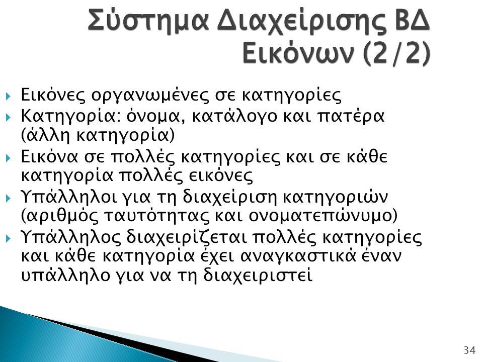 Σύστημα Διαχείρισης ΒΔ Εικόνων (2/2)
