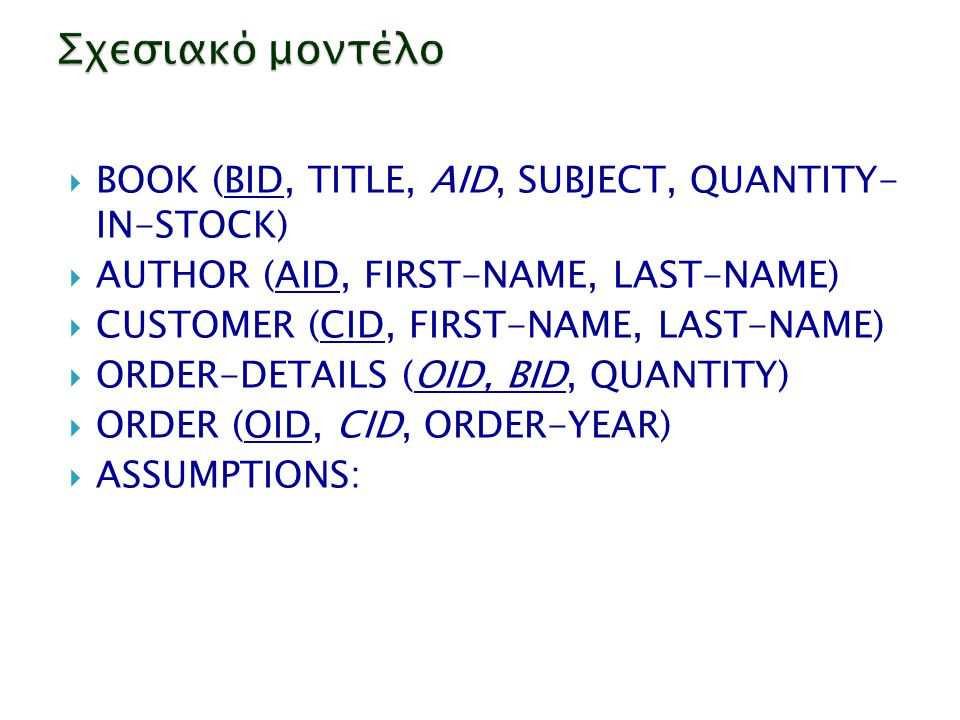 Σχεσιακό μοντέλο BOOK (BID, TITLE, AID, SUBJECT, QUANTITY- IN-STOCK)