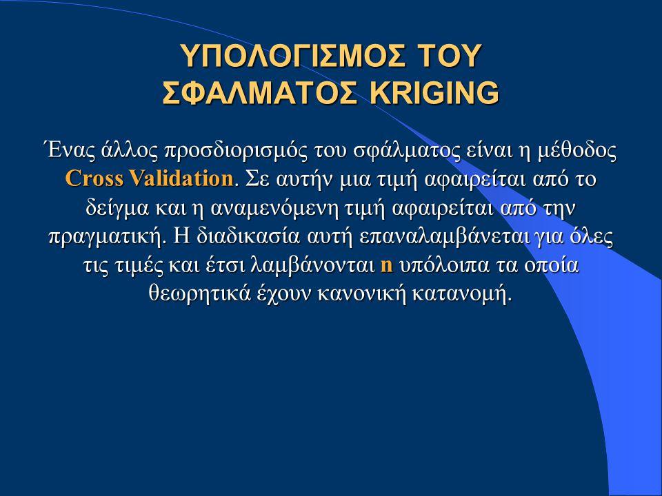 ΥΠΟΛΟΓΙΣΜΟΣ ΤΟΥ ΣΦΑΛΜΑΤΟΣ KRIGING