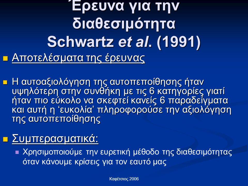 Έρευνα για την διαθεσιμότητα Schwartz et al. (1991)