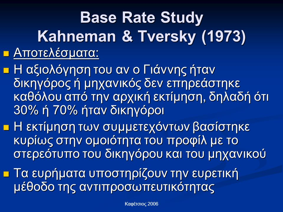 Base Rate Study Kahneman & Tversky (1973)