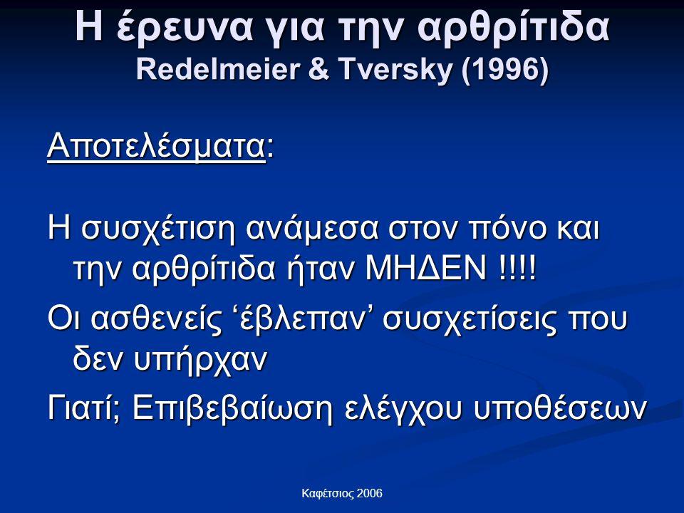 Η έρευνα για την αρθρίτιδα Redelmeier & Tversky (1996)