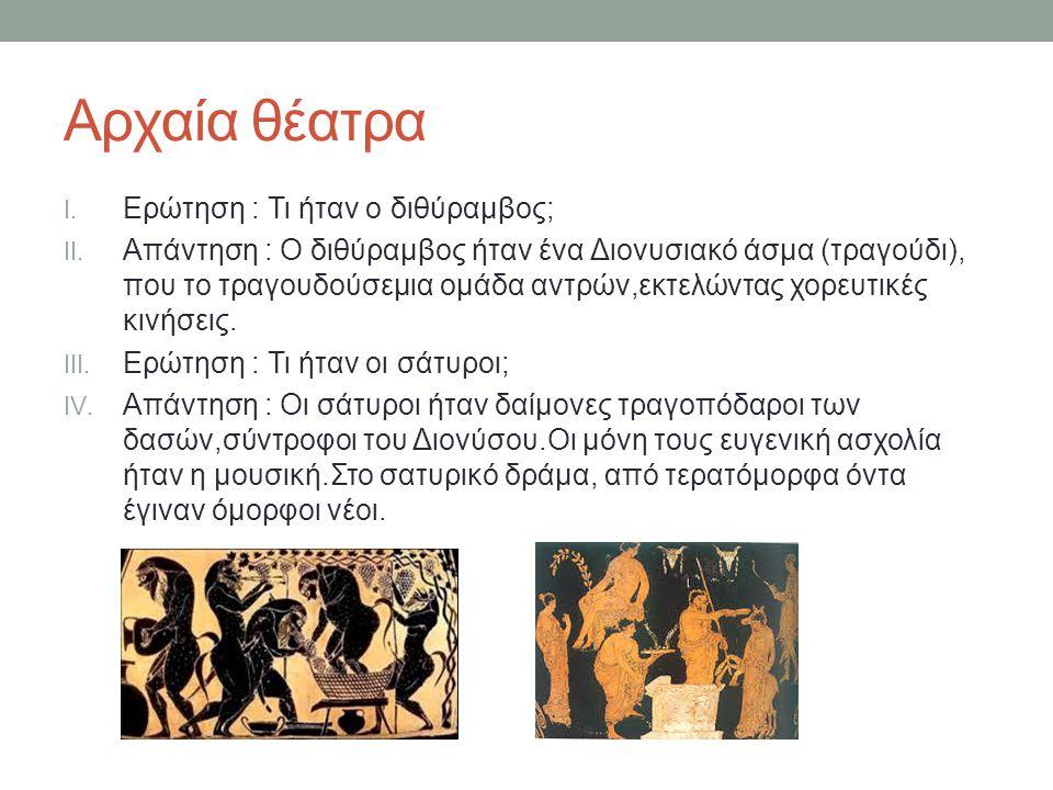 Αρχαία θέατρα Ερώτηση : Τι ήταν ο διθύραμβος;