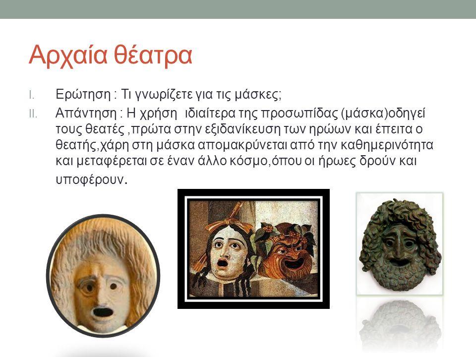Αρχαία θέατρα Ερώτηση : Τι γνωρίζετε για τις μάσκες;