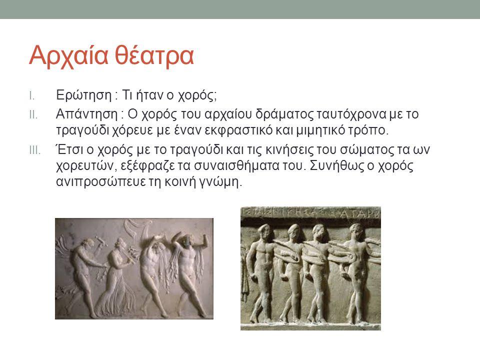 Αρχαία θέατρα Ερώτηση : Τι ήταν ο χορός;