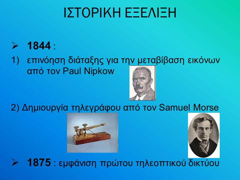ΙΣΤΟΡΙΚΗ ΕΞΕΛΙΞΗ 1844 : 1875 : εμφάνιση πρώτου τηλεοπτικού δικτύου