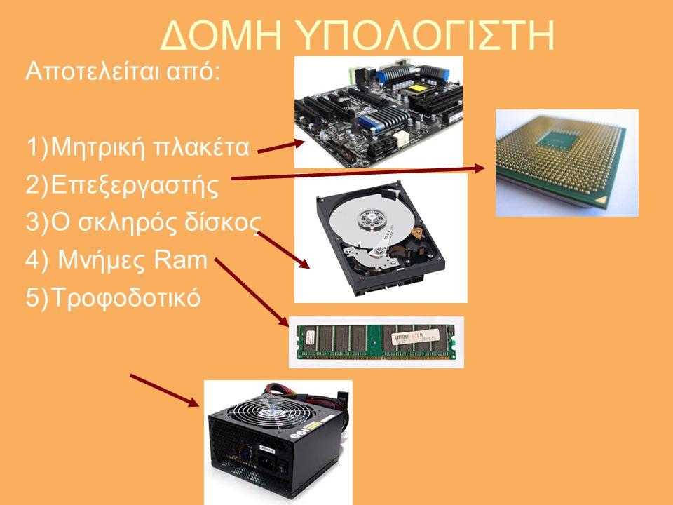 ΔΟΜΗ ΥΠΟΛΟΓΙΣΤΗ Αποτελείται από: Μητρική πλακέτα Επεξεργαστής