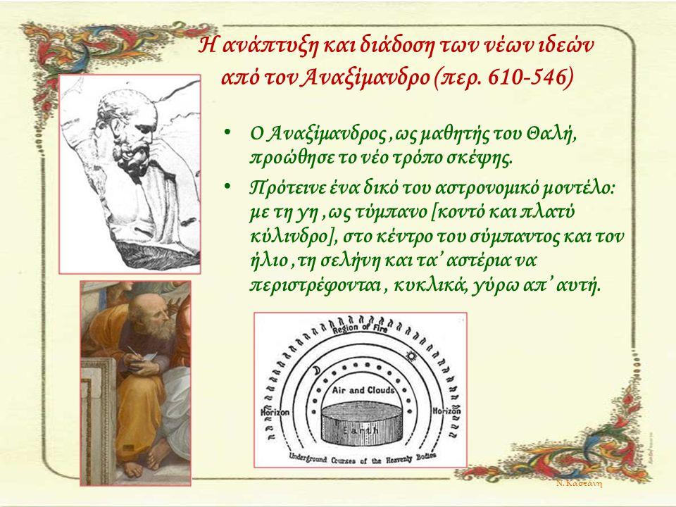 Η ανάπτυξη και διάδοση των νέων ιδεών από τον Αναξίμανδρο (περ