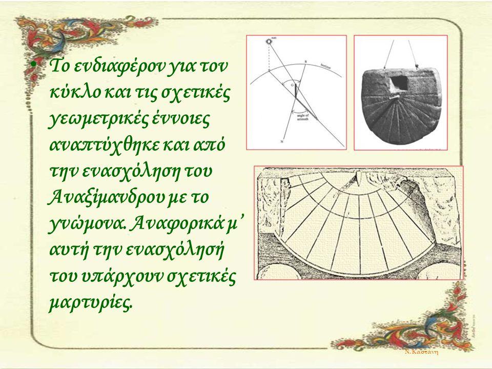 Το ενδιαφέρον για τον κύκλο και τις σχετικές γεωμετρικές έννοιες αναπτύχθηκε και από την ενασχόληση του Αναξίμανδρου με το γνώμονα. Αναφορικά μ' αυτή την ενασχόλησή του υπάρχουν σχετικές μαρτυρίες.