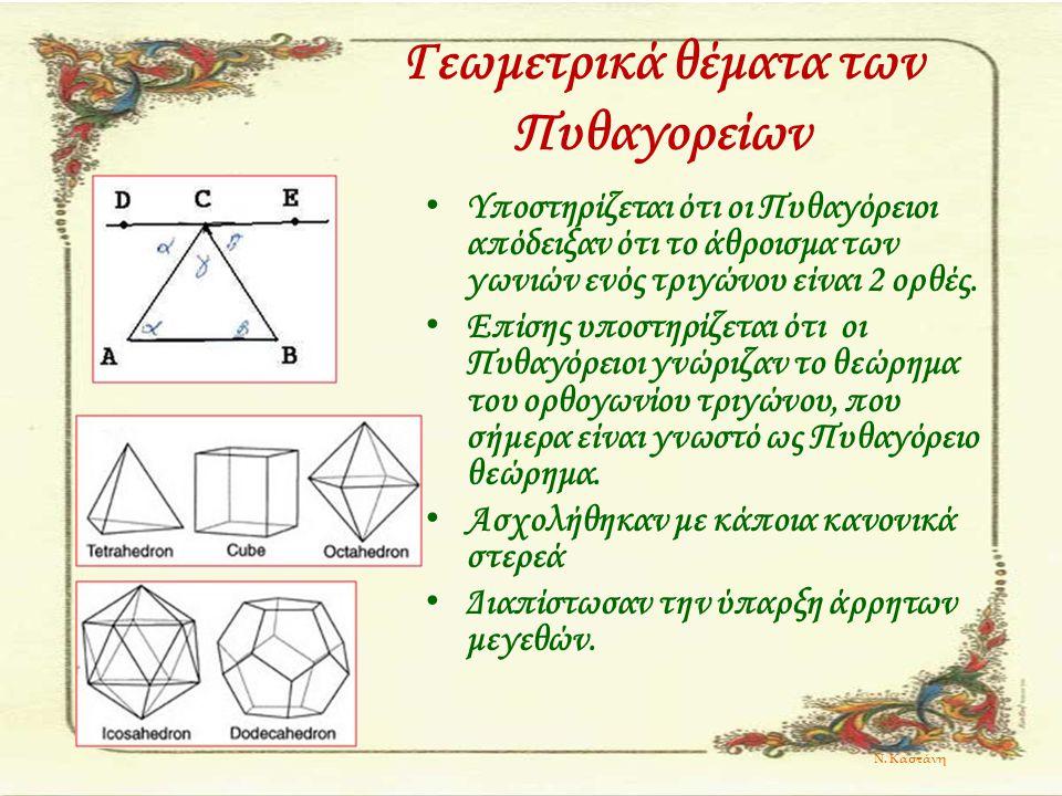 Γεωμετρικά θέματα των Πυθαγορείων