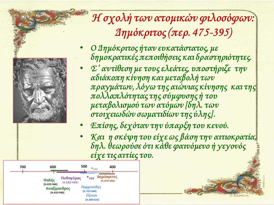 Η σχολή των ατομικών φιλοσόφων: Δημόκριτος (περ. 475-395)