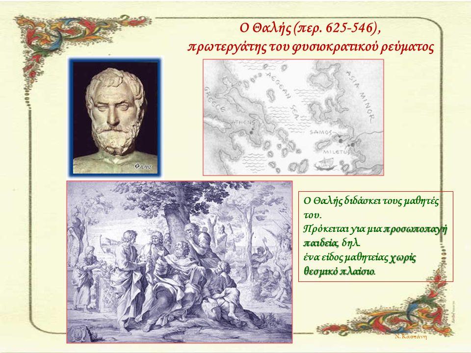 Ο Θαλής (περ. 625-546) , πρωτεργάτης του φυσιοκρατικού ρεύματος