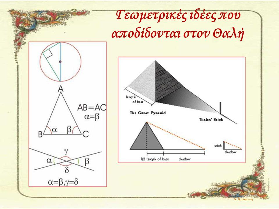 Γεωμετρικές ιδέες που αποδίδονται στον Θαλή