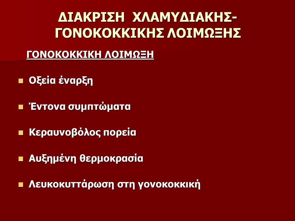 ΔΙΑΚΡΙΣΗ ΧΛΑΜΥΔΙΑΚΗΣ- ΓΟΝΟΚΟΚΚΙΚΗΣ ΛΟΙΜΩΞΗΣ