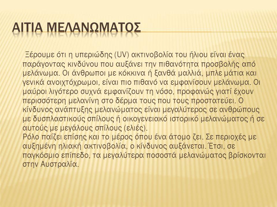 Αιτια μελανωματοσ