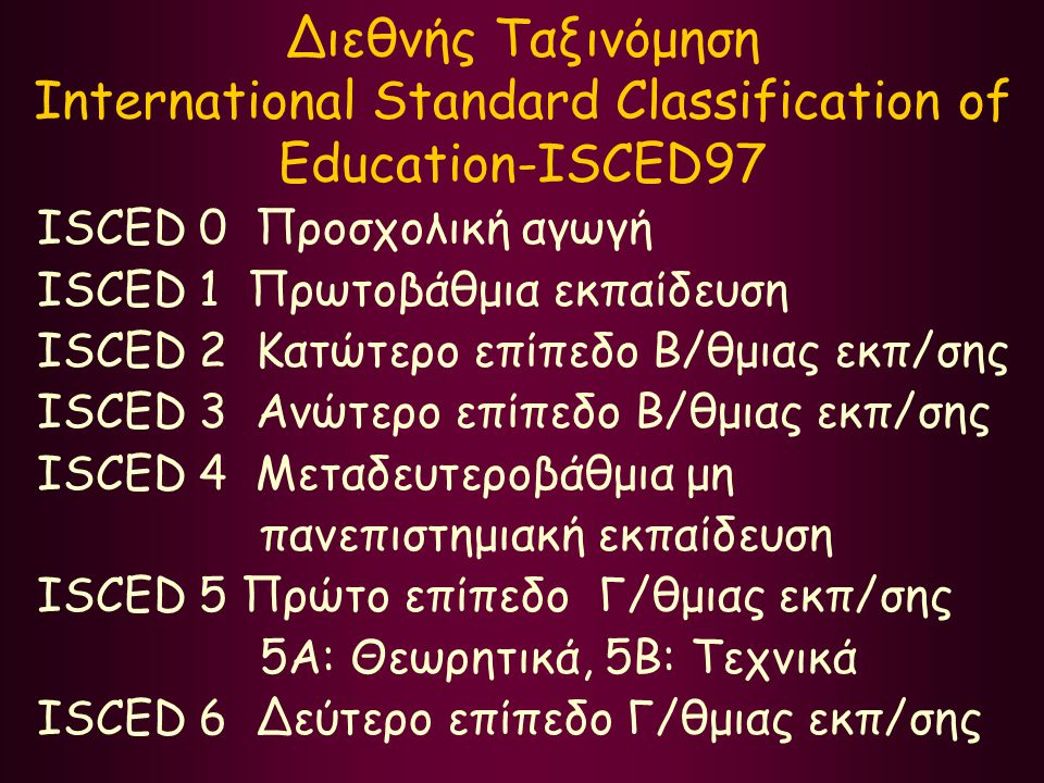 Διεθνής Ταξινόμηση International Standard Classification of Education-ISCED97