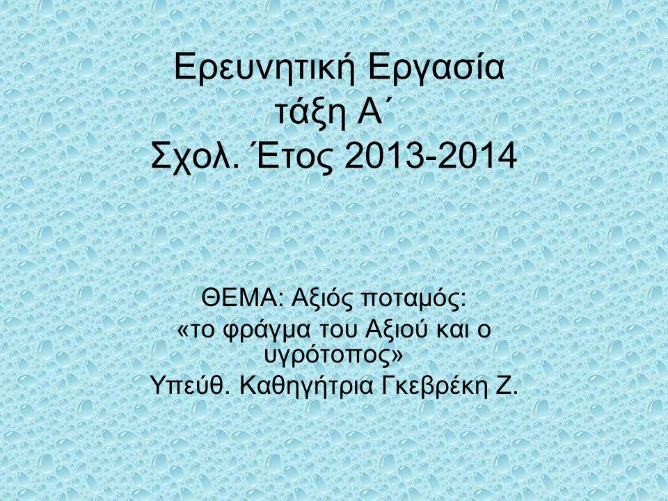 Ερευνητική Εργασία τάξη Α΄ Σχολ. Έτος 2013-2014
