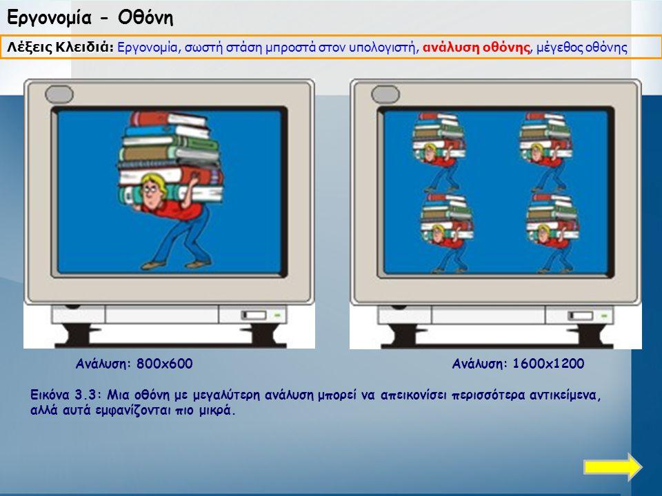 Εργονομία - Οθόνη Λέξεις Κλειδιά: Εργονομία, σωστή στάση μπροστά στον υπολογιστή, ανάλυση οθόνης, μέγεθος οθόνης.