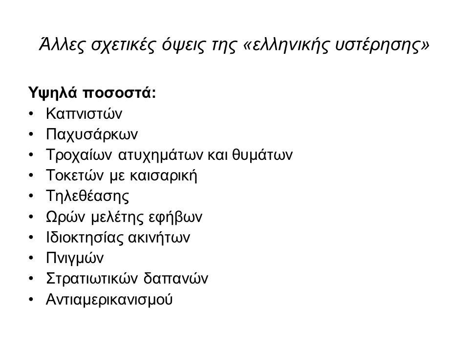 Άλλες σχετικές όψεις της «ελληνικής υστέρησης»