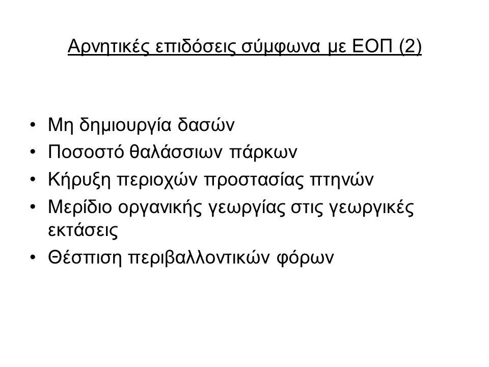 Αρνητικές επιδόσεις σύμφωνα με ΕΟΠ (2)