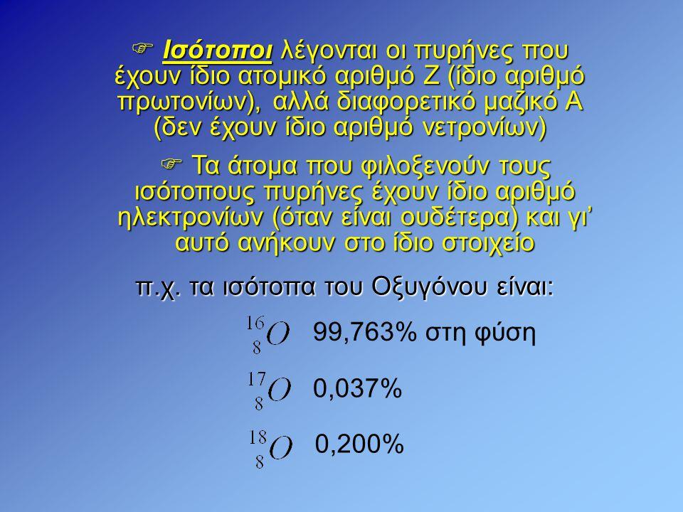 π.χ. τα ισότοπα του Οξυγόνου είναι: