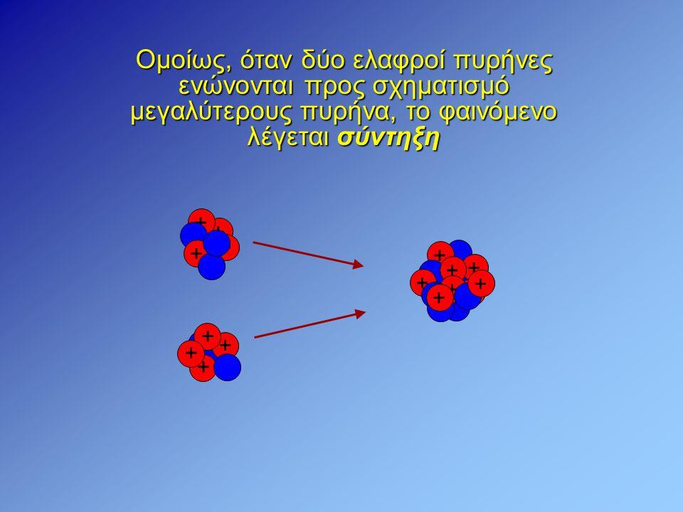 Ομοίως, όταν δύο ελαφροί πυρήνες ενώνονται προς σχηματισμό μεγαλύτερους πυρήνα, το φαινόμενο λέγεται σύντηξη