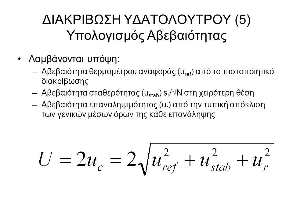 ΔΙΑΚΡΙΒΩΣΗ ΥΔΑΤΟΛΟΥΤΡΟΥ (5) Υπολογισμός Αβεβαιότητας