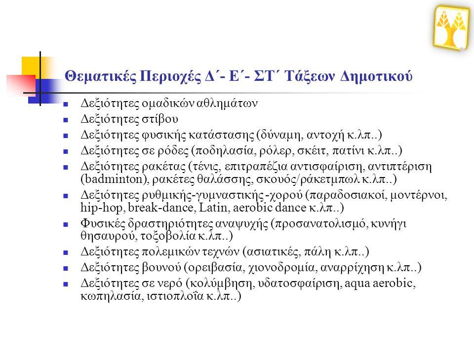 Θεματικές Περιοχές Δ΄- Ε΄- ΣΤ΄ Τάξεων Δημοτικού