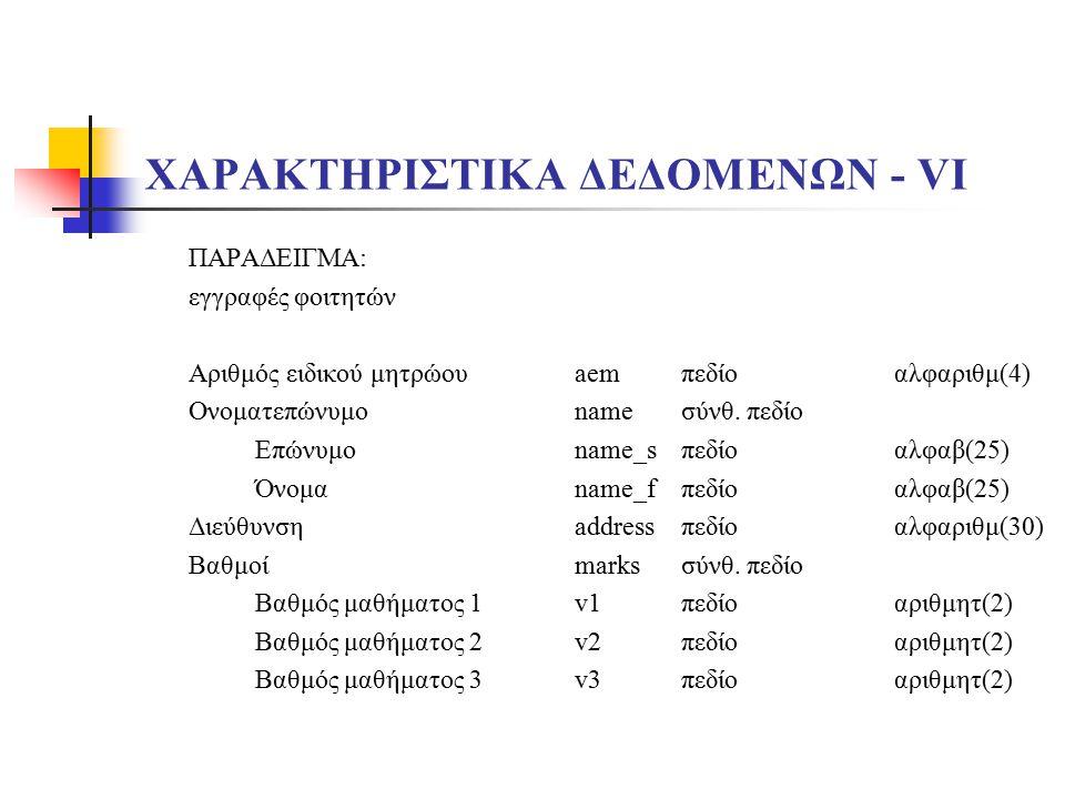 ΧΑΡΑΚΤΗΡΙΣΤΙΚΑ ΔΕΔΟΜΕΝΩΝ - VΙ
