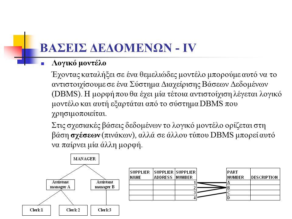 ΒΑΣΕΙΣ ΔΕΔΟΜΕΝΩΝ - ΙV Λογικό μοντέλο