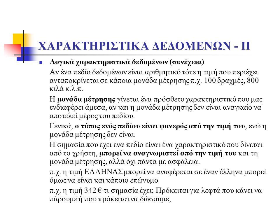 ΧΑΡΑΚΤΗΡΙΣΤΙΚΑ ΔΕΔΟΜΕΝΩΝ - ΙΙ