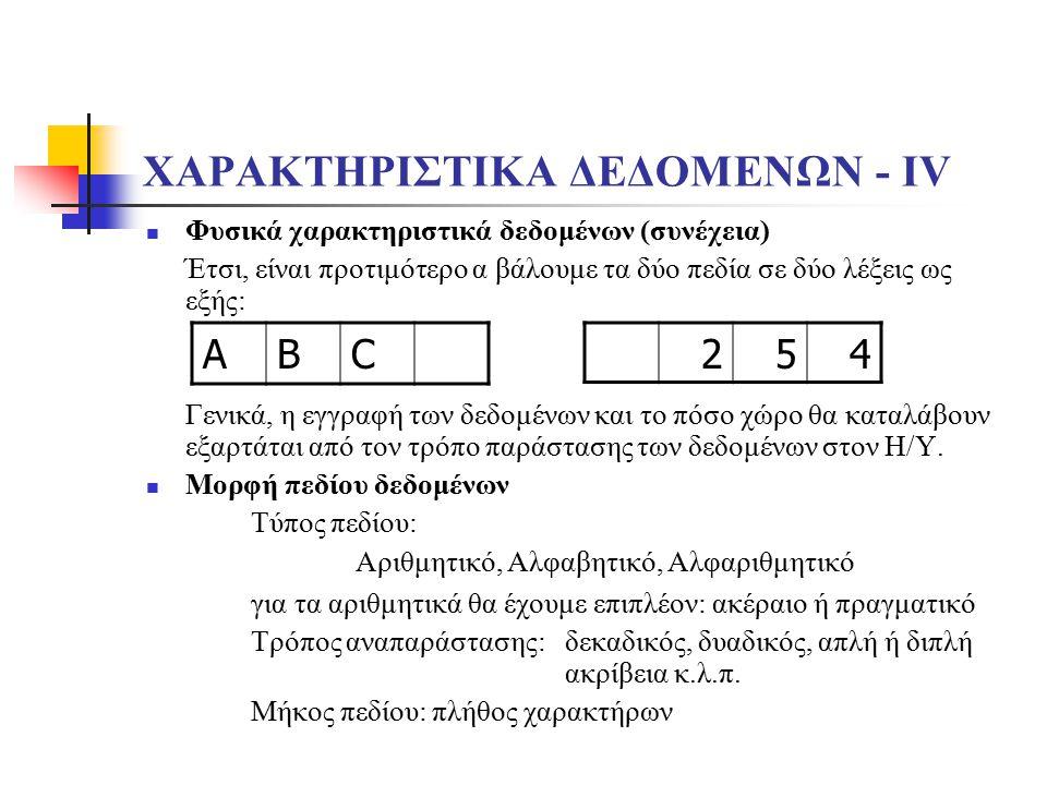 ΧΑΡΑΚΤΗΡΙΣΤΙΚΑ ΔΕΔΟΜΕΝΩΝ - ΙV