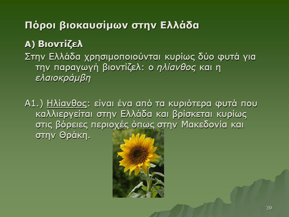 Πόροι βιοκαυσίμων στην Ελλάδα