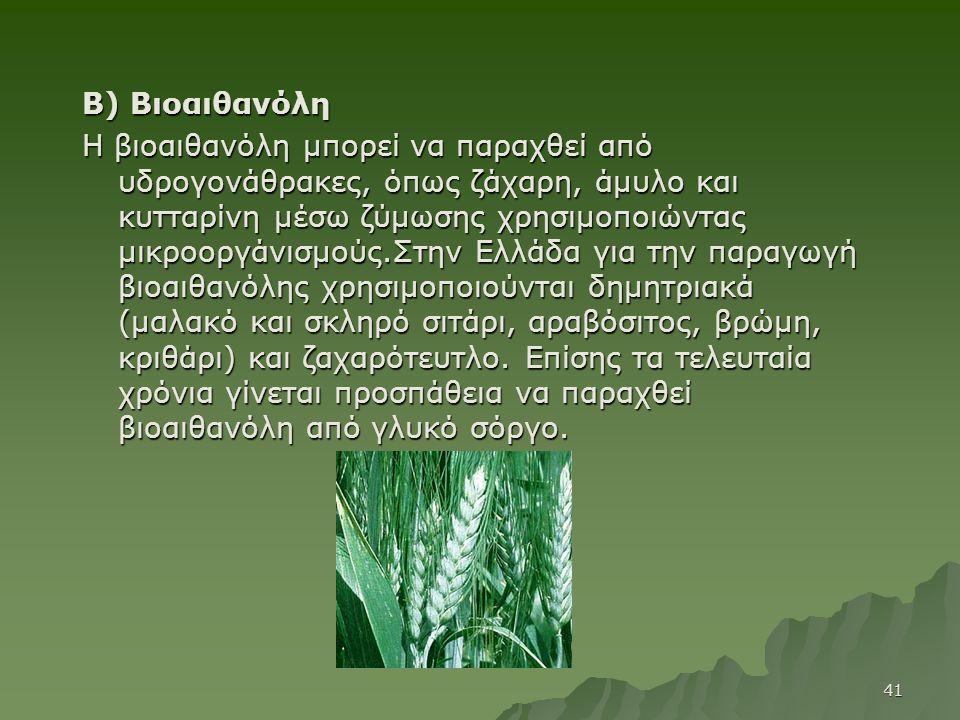 Β) Βιοαιθανόλη