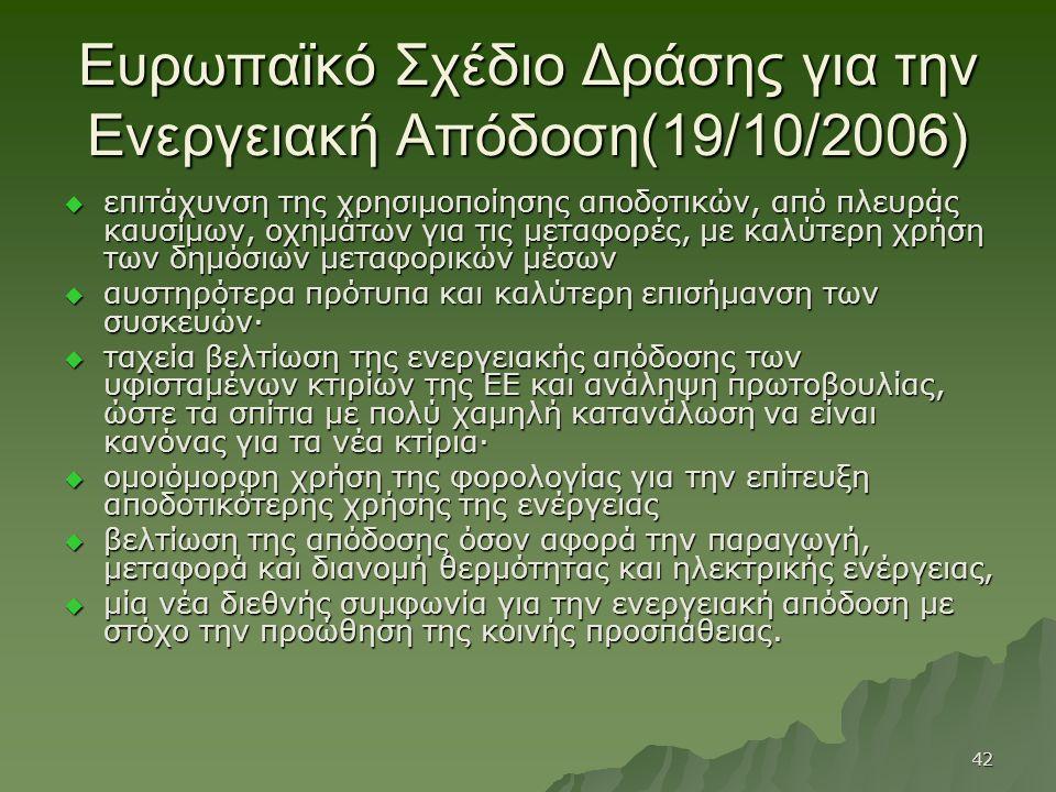 Ευρωπαϊκό Σχέδιο Δράσης για την Ενεργειακή Απόδοση(19/10/2006)