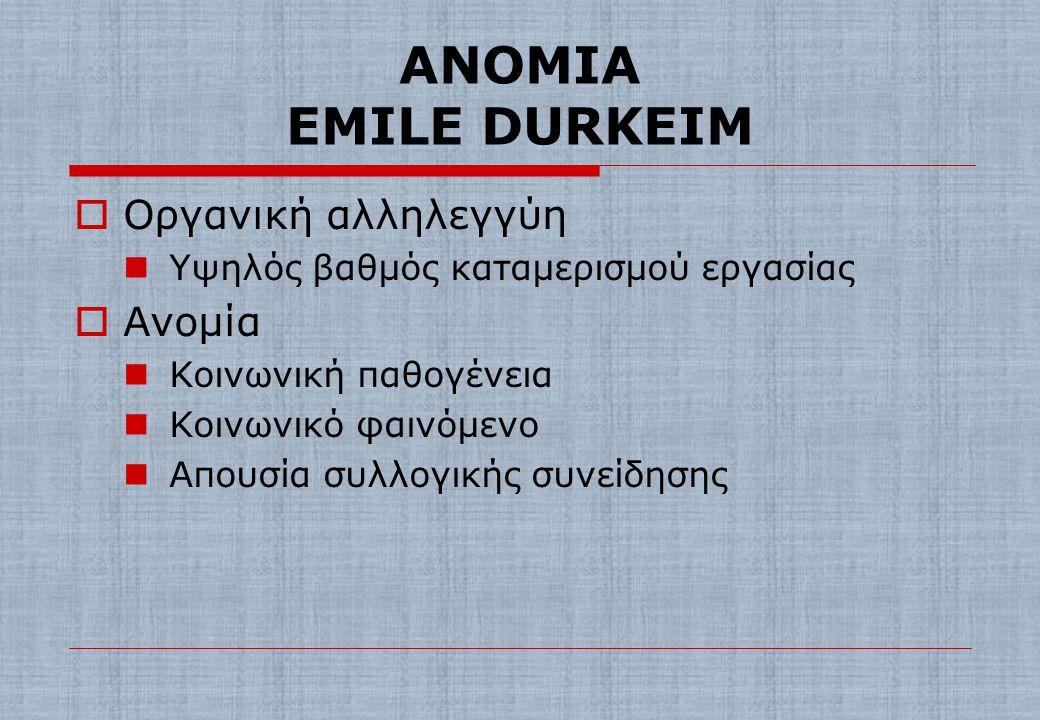 ΑΝΟΜΙΑ EMILE DURKEIM Οργανική αλληλεγγύη Ανομία