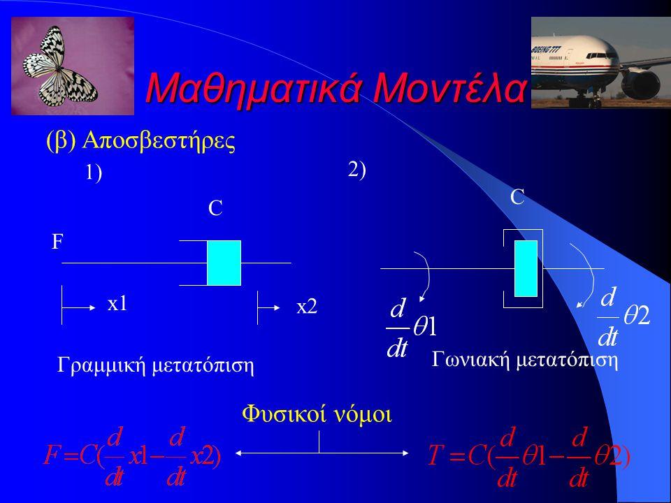 Μαθηματικά Μοντέλα (β) Αποσβεστήρες Φυσικοί νόμοι 2) 1) C C F x1 x2
